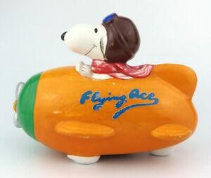 VINTAGE - SNOOPY FLYING ACE PAPER MACHE MONEY BOX - Dated 1966