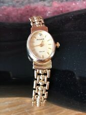 Superb Vintage 9ct Gold Diamond Set Accurist Ladies Cocktail Dress Watch & Case
