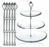 Crown Design 5x Cake Stand Fittings Silver for 3 Tier Stands Baking Cakes