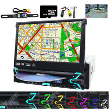 """Car 1-Din Dvd Cd Bluetooth Stereo 7"""" Touch Screen Flip Out Gps Navigation+Camera"""