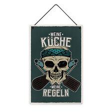 Küche Regeln 20 x 30 cm Holz-Schild 8 mm Spruch Motiv Geschenk Mann Koch Lustig