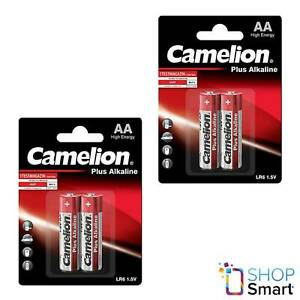 4 Camelion Aa Plus Piles Alcalines LR06 MN1500 AM3 E91 1.5V 2BL Exp 2027 Neuf