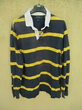 Polo RALPH LAUREN Custom Fit coton manches longues bleu marine jaune XL