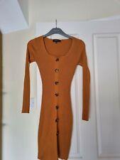 Mustard Dress Size 8 New Look Longsleeve Bodycon Ribbed Bardot