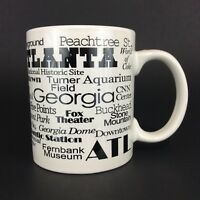 Coffee Mug Cup Atlanta Georgia Landmarks Attractions White Black Collectibles