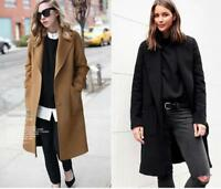Womens Wool Blend Coats Lapel V Neck Loose Fit Outwear Trench Warm Parka Plus SZ