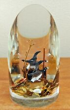 """Large Vintage Lucite Paperweight Hand-Carved Canada Geese Goose Honkers Birds 7"""""""