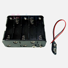 5x Hold 10 AA LR6 Size Battery Holder 15V Case Box With Snap Connector Wire Lead