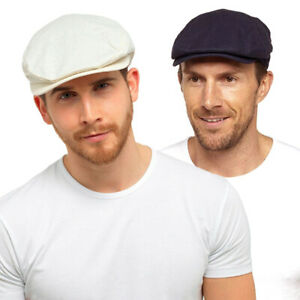 Mens Linen Flat Cap with Stitched Peak for Summer in Blue & White