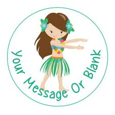 24 icing cake decorations toppers can be personalised Luau Hawaiian Girl