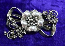 HOBE STERLING SILVER BROOCH FABULOUS LARGE ORIGINAL RETRO 1940S FLOWER PIN
