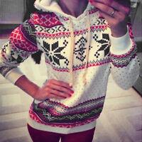 Mujer Navidad Sudadera con Capucha Suéter de Manga Larga Jersey Copos Nieve