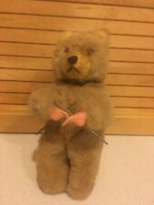 Antique Wind-Up Turn Key KNITTING BEAR Plush - When Wound Bear Knits and Nods