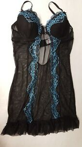 Black Lace Babydoll Lingerie Set Underwired Padded cup Size 8-10 Valentines Gift