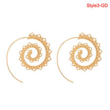 Retro Women Circles Round Spiral Tribal Hoop Earrings Ear Stud Piercing Style3 Gold