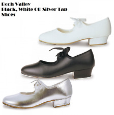 Black, White Or Silver Girls Low Heel Tap Shoe Roch Valley HEEL & TOE TAPS!