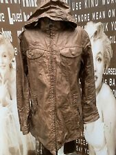 Ladies Barbour Jacket Duralinen Hood 100% Linen Brown Large UK Size 16