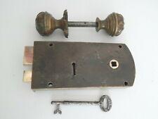 More details for antique victorian right hand gibbons bronze rim lock & door knobs