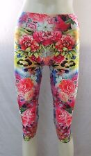 Women's Floral Sublimation Printed Cropped Leggings Multi Color One Size