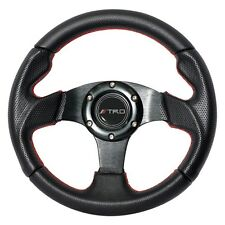 280mm JDM 6-Bolt Steering Wheel Black PVC Leather Red Stitching TRD For Toyota