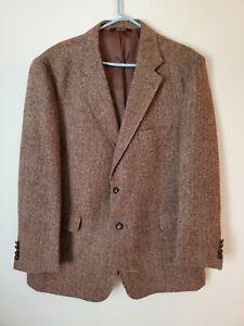 Harris Tweed Brown Herringbone 2 Leather Button Wool Sports Coat Blazer SZ 48R