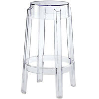 """Acrylic Counter Stool Clear Transparent Round Ghost 26.5"""" Hgt Modern"""