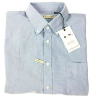 RM Williams Men's Collins Long Sleeve Size 5XB Blue Button Down Shirt New
