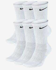 Nike Men's Everyday Cushioned Training Crew Socks 6 Pairs White SX7666-100 f