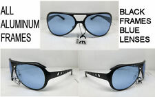 ELVIS SUNGLASSES ALL  METAL AVIATOR  BLACK CUSTOM BLUE LENSES Aluminum