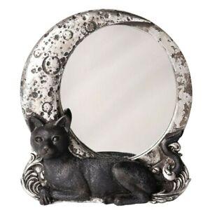 Alchemy Gothic Night Cat Moon Mirror Wall Or Desk Decor Goth Kitty Gift V95 New