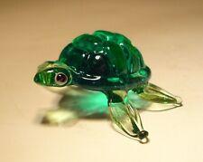 """Blown Glass """"Murano"""" Art Small Animal Green Turtle Tortoise Figurine"""