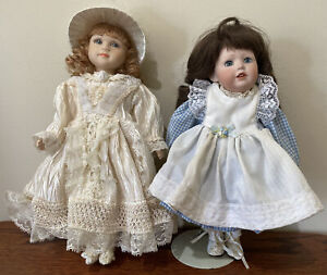 """Porcelain Bisque Dolls Jointed, All Bisque Body, 10.5"""" And 11"""""""
