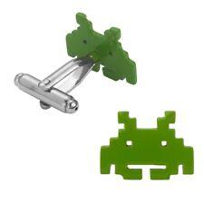 Space Invaders Green Alien Geek Retro Gamer Logo Symbol Cufflinks Suit Gift Bag