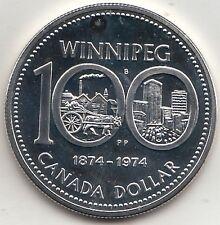 CANADA 1 DOLLARO Ag 1974 WINNIPEG 100 ANNI  SILVER in capsula plastica di zecca