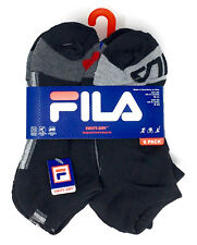 Fila Boys No-Show Socks with Swift Dry Size 9-11 in Black w/ Grey, Black w/ Blue