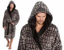 MENS NOVELTY DINOSAUR HOODED FLANNEL GOWN WITH HOOD WITH EARS BATH ROBE DRESSING