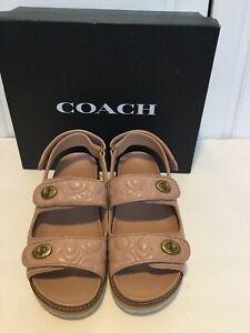 """NIB COACH Women's Kacie Signature C""""s Pale Blush NMN Sandals, size 7.5"""