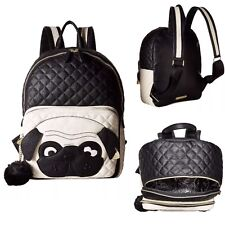 Betsey Johnson Pug Face Dog Backpack Large School Travel Bag Purse New