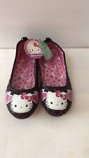 NWT Hello Kitty Girl Black Pink Casual Flat Shoe Sz 3