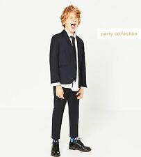 NWT Boys Dark Gray Blue Wool Suit Blazer Trousers Set Wedding Party Coat 8 9 10