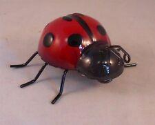 """Metal Ladybug Figurine, Adorable Hand-Painted Garden Ladybug, 3"""" Long"""