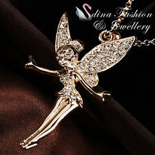18K Yellow Gold Plated Simulated Diamonds Flower Fairy Princess Gold Necklace