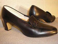 7.5 Vtg 1960s 1970s Nos Black Belted Leather Loafer 60s 70s Pump Heel Shoe