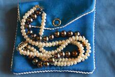 UNIQUE!! BN black/cream pearl bracelet TRIPLE strand 14K YG clasp