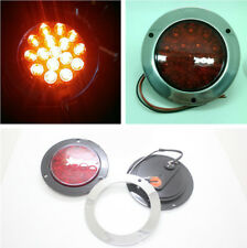 Truck Pickup Red Round 16 LEDs Indicator Stop Rear Tail Lights Waterproof 12-24V