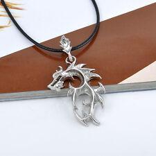 Fashion Men Necklace Silver Titanium Steel Dragon Pendant Leather Chain Necklace