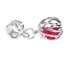 Caged Red Crystal July Birthstone Ball Dangle Charm for European Slide Bracelet