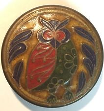 Vintage Solid Brass Trinket Box with Lid Hand Painted Enamel Owl Round India