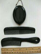 1 Oval Rubber Coin Purse Holder & 2 Pocket Handle Combs Stocking Stuffer USAMade