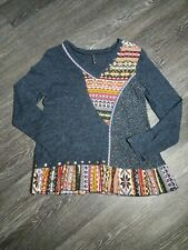 Sacred Threads womens Beaded Tunic Top flowy boho size Med navy